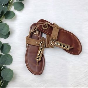 G by Guess; Brown & Gold T-Strap Sandals Size 6.5M